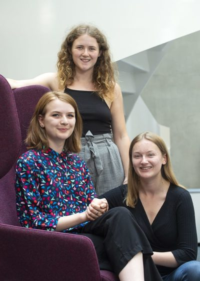 Image of Rhona Kerinan, Bethan Froggat and Rebecca Collins of the University of Edinburgh STEM Society