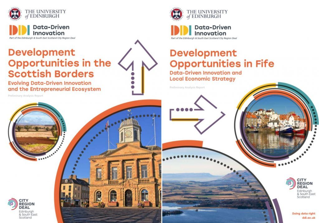 Front covers of DDI's Fife and Scottish Borders reports