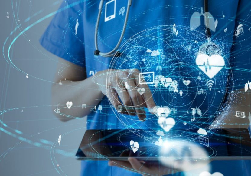 medical professional on ipad